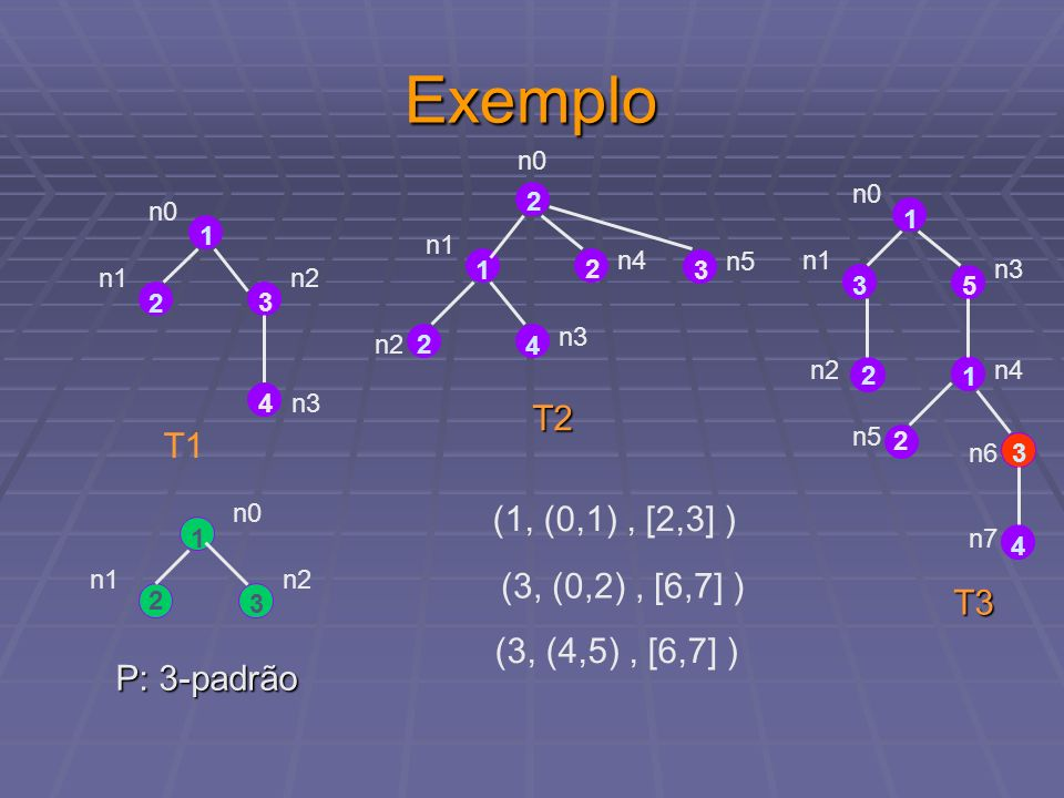 Exemplo T2 T1 (1, (0,1) , [2,3] ) (3, (0,2) , [6,7] ) T3